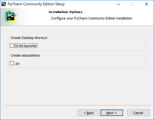 pycharm install options