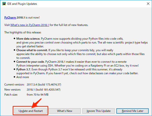 pycharm auto update